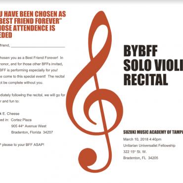 2018 BFF Suzuki Violin Recital Details
