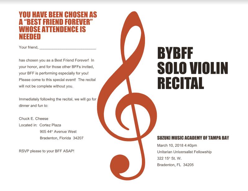 2018 BFF Suzuki Violin Recital